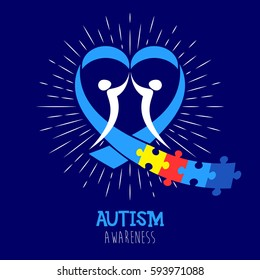 World autism awareness day. Heart puzzle ribbon vector design sign. Symbol of autism. Medical flat illustration. Health care badge