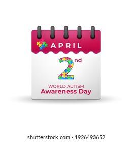 World Autism Awareness Day on 2nd April Calendar, Vector Illustration