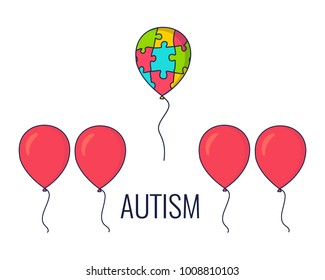 World Autism Day awareness poster with a colorful balloon made of puzzle pieces flying away from the row of red balloons. Standing out of the crowd. Vector illustration.