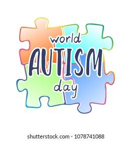 World autism day vector illustration. Autism disease concept. Puzzle illustration.