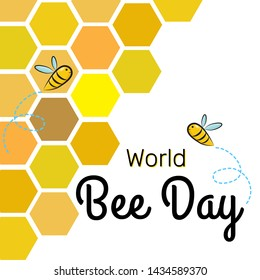 World Bee Day Vector Design Template background with bees on the honeycomb, flying bee cartoon characters