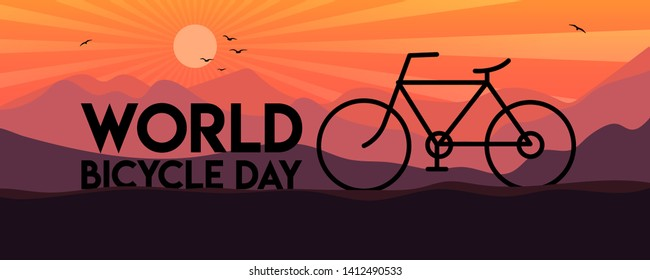 World Bicycle Day template design for banner, greeting cards, Logo, Mnemonic, Symbol, Icon, label, Banner or Poster Design - Vector, Illustration
