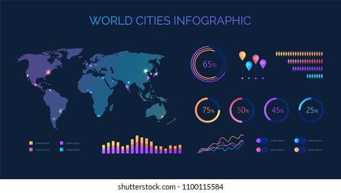 World biggest cities color vector infographic map with diagrams