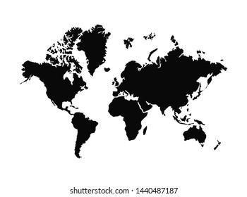 world blank map vector . world map template . world silhouette . black world map . flat earth maps