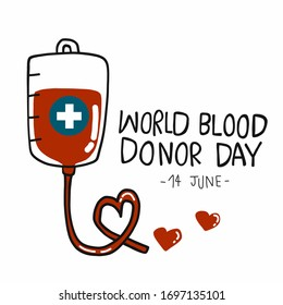 World blood donor day, blood bag cartoon vector illustration