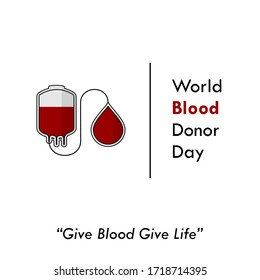 World Blood Donor Day. Blood Bag design. Transfusing blood from blood bag. vector illustration.