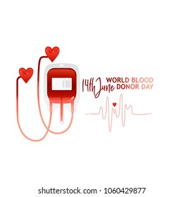 World blood donor day banner with red bloody plastic container and sign. Isolated on white background. Copy space. Flat vector illustration. Calling for a donor donation banner, poster, flyer
