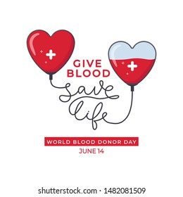 World blood donor day design poster vector illustration. Heartshaped droppers with white cross tied with another capacitance full of red liquid flat style. Lifeblood donation concept