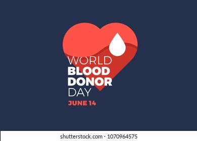 World blood donor day. Emblem with image of red heart on dark background. Medical sign on June 14. Vector illustration.