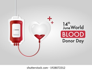 World Blood Donor Day, June 14th, vector design, with blood bag transferring blood concept