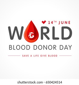 World blood donor day lettering card. Vector illustration of Donate blood concept with abstract shape blood drop for World blood donor day June 14