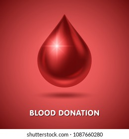 World blood donor day poster. Realistic blood drop. Vector Illustration