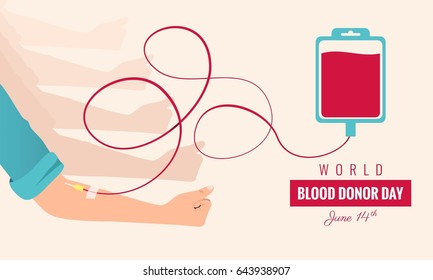 World blood donor day poster. Human donates blood. Vector illustration