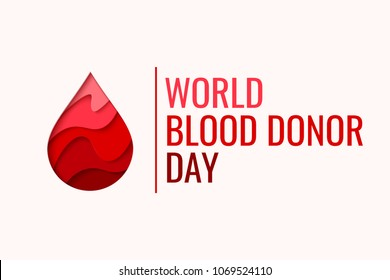 World Blood Donor Day vector background. Awareness poster with red paper cut blood drop. 14 june. Hemophilia day concept