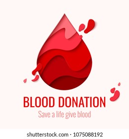 World Blood Donor Day vector paper craft concept background. Awareness banner with red paper cut blood drop. 14 june. Hemophilia day poster