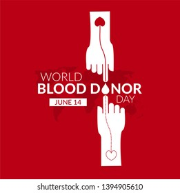 World Blood Donor Day vector background. Awareness poster with red paper cut blood drop. 14 june. Hemophilia day concept - Vector