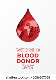 world blood donor day vertical banner design layout with text and papercut colorful drop of blood with world map inside. vector illustration for greeting cards, posters, flyers, invitations, brochures