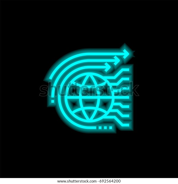 World blue glowing neon ui ux icon. Glowing sign logo vector