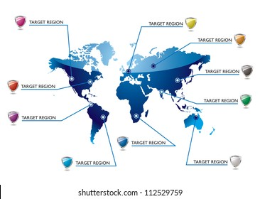 World blue map with information in key areas