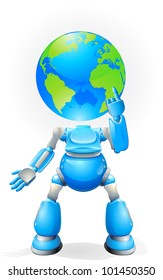 A world blue robot with a globe for a head. Conceptual illustration.