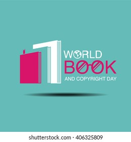 world book and copyright day, logo , icon flat design, vector