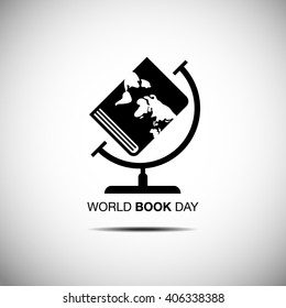 world book and copyright day, logo , icon ,flat design, vector, Black & white