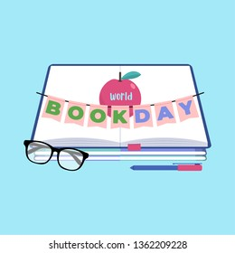World book day background. Tiny people flat vector illustration concept. Suitable for wallpaper, poster, banner, background, card, book illustration, and web landingpage. Eps.10