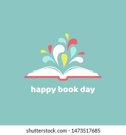 World book day card. Open book with red book cover and paint drops flying out.  Isolated on powder blue background. Flat icon. Vector illustration. Creative, imagination, fantasy. Education logo.