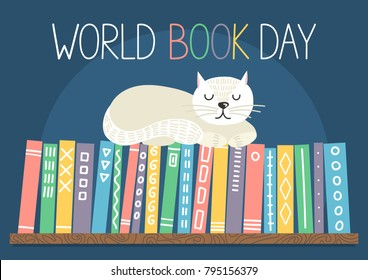 World Book Day. Different color books with ornament on shelf with white cat sleeping on bookshelf on blue background. Vector illustration.