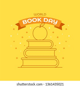 World book day flat vector illustration concept. Suitable for wallpaper, poster, banner, background, card, book illustration, and web landingpage. Eps.10