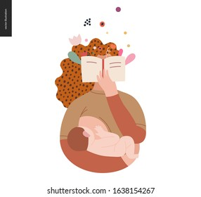 World Book Day graphics, breastfeeding template, book week events. Modern flat vector concept illustrations of reading people -a woman reading novel with enthusiasm, holding a baby, breastfeeding him.
