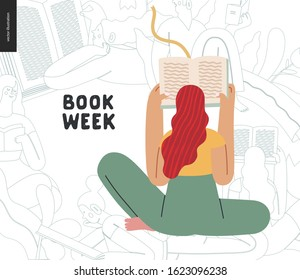 World Book Day graphics - book week events. Modern flat vector concept illustrations of reading people - a young red-haired woman reading a book sitting in the lotus