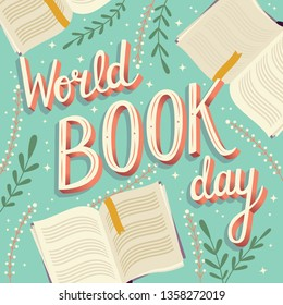 World book day, hand lettering typography modern poster design with open books, vector illustration