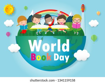 World Book Day, kid reading books ,Education Concept, Happy Book Day Vector Illustration