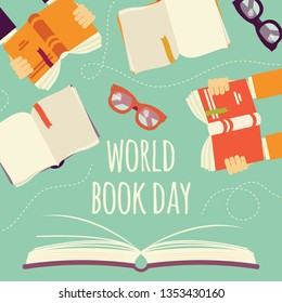 World book day, open book with hands holding books and glasses, vector illustration