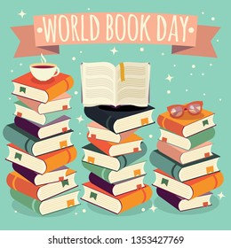 World book day, open book on stack of books with glasses on mint background, vector illustration