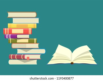 World book day. Stack of colorful books with open book. Vector illustration in flat design