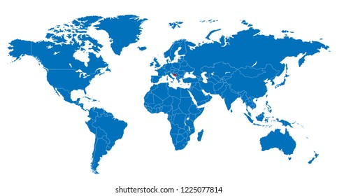 The World and Bosnia And Herzegovina Map Vector