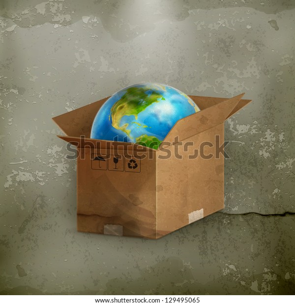 World in box, old-style vector