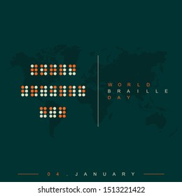 """World Braille Day on 04 January with """"World Braille Day"""" Alphabet text"""