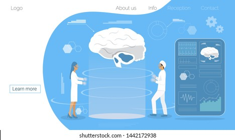 World brain day in 22 July concept. Neurology healthcare, dementia, alzheimer metaphor.  Anatomical science of brain and senses diseases,  for website and mobile website development, landing page.