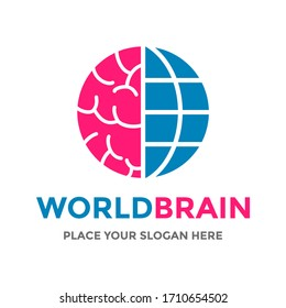 World brain vector logo template. This design use globe symbol. Suitable for education or nature.