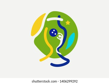 World of Brasil logo abstract football championship concept, Brazilian trophy soccer ball icon, Championship Conmebol Copa America 2019 in Brazil, vector isolated on white background