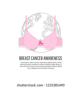 World Breast Cancer Day concept. Vector Illustration.  Mammography