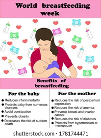 World Breastfeeding Day, mother breastfeeds her little baby, bottles and pacifiers in the background, text explaining the benefits of breastfeeding for baby and mother