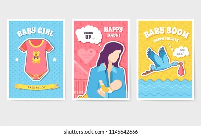 World breastfeeding week cards set. kids elements of flyear, magazines, posters, book cover, banners. Devices infographic concept background. Layout illustrations template pages