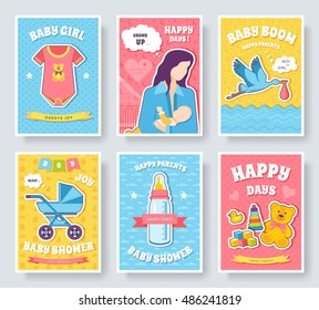 World breastfeeding week cards set. kids elements of flyear, magazines, posters, book cover, banners. Devices infographic concept background. Layout illustrations template pages with typography text