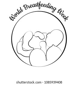World Breastfeeding Week. Concept of holiday. Child and woman's breast. Concluded in a circle. Event name. Symbol of breastfeeding, lactation, neonatal care, mother and baby. Linear illustration