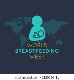 World Breastfeeding Week vector logo icon illustration