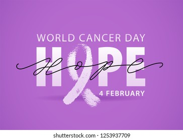 World cancer day 4 february. Violet background. White Hope word with ribbon symbol. Vector illustration text concept for world cancer day. Typography design for poster banner and post on social media.